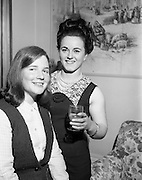 16/2/1966<br /> 2/16/1966<br /> 16 February 1966<br /> <br /> Finalists in the first ever Irish Ladies' Judo Championship Nuala Whelan and Mary Lawor at the All Ireland Championships Reception held at the Jurys Hotel