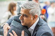 The Mayor of London Sadiq Khan hugs choreographer Akram Khan after watching  Londoners as they warmed-up at City Hall for the international Big Dance Pledge. On Friday 20 May, over 40,000 people in 43 countries around the world will take part in the Big Dance event, which has been specially choreographed by Akram Khan. Among the Londoners were: Students from University of Roehampton; MovE17 community group; Children from John Scurr Primary School; and the Croydon Community Dance group. This year is the finale of Big Dance, celebrating ten years of grassroots and community dance.