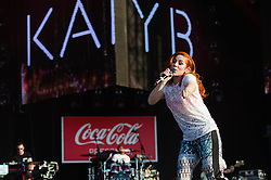 © Licensed to London News Pictures. 26/07/2012. London, UK.  Katy B and Mark Ronson perform at the London 2012 Olympic Torch Relay Finale in London's Hyde Park, presented by Coca Cola. Photo credit : Richard Isaac/LNP