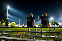 Folsom High School Bulldogs Justin Youn (42), and Folsom High School Bulldogs Richard Cornelius (16), wait for the JV game to finish so they can take the field as the Folsom High School Bulldogs varsity football team host the Oak Ridge High School Trojans,  Friday Nov 4, 2016.<br /> photo by Brian Baer
