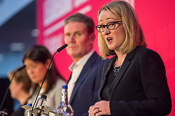 © Licensed to London News Pictures. 01/02/2020. Bristol, UK. REBECCA LONG-BAILEY at the Labour Party Leadership Hustings, at Ashton Gate Stadium. Candidates: Emily Thornberry, Lisa Nandy, Kier Starmer, Rebecca Long-Bailey,Photo credit: Simon Chapman/LNP.