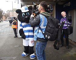 Jude the QPR club mascot is interviewed before the Sky Bet Championship match between Queens Park Rangers and Sunderland at Loftus Road, London.