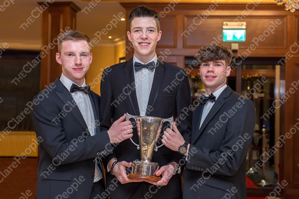 Ballyea Junior players Mark Crowe, Oisin Hennessey and Sean Meaney