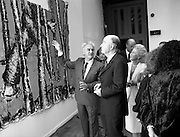 19/08/1988<br /> 08/19/1988<br /> 19 August 1988<br /> Opening of ROSC '88 at the Guinness Hop Store, Dublin. President Patrick Hillery who officially opened the exhibition listens intently as Patrick Murphy, ROSC Chairman, explains an exhibit.