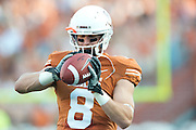 AUSTIN, TX - AUGUST 31: Jaxon Shipley #8 of the Texas Longhorns warms up before kickoff against the New Mexico State Aggies on August 31, 2013 at Darrell K Royal-Texas Memorial Stadium in Austin, Texas.  (Photo by Cooper Neill/Getty Images) *** Local Caption *** Jaxon Shipley