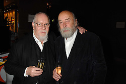 Left to right, SIR PETER BLAKE and ROY ACKERMAN at a party to celebrate the first year if ING's sponsorship of the Renault Formula 1 team, held at the Mayfair Hotel, Stratton Street, London W1 on 28th November 2007.<br />