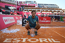 May 6, 2018 - Estoril, Estoril, Portugal - Joao Sousa from Portugal poses with the trophy after winning the Final of the Millennium Estoril Open 2018 at Clube de Tenis do Estoril on May 06, 2018 in Estoril, Portugal. (Credit Image: © Dpi/NurPhoto via ZUMA Press)