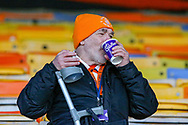 A Luton Town fan enjoying a hot drink during the EFL Sky Bet League 1 match between Luton Town and Plymouth Argyle at Kenilworth Road, Luton, England on 17 November 2018.