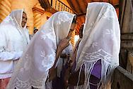 "The ladies of ""hermanidad de Santa Ana"" leaving the omonymous church. A ritual"