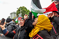 pro-Palestine demonstration supporters march through london to the Israeli Embassy in High St Kensington, London, England, UK on Saturday 15 May, 2021 photo by Mark Anton Smith