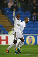 Ryan Sessegnon of Fulham celebrates towards the Fulham fans.EFL Skybet championship match, Cardiff city v Fulham at the Cardiff city stadium in Cardiff, South Wales on Boxing Day, Tuesday 26th December 2017.<br /> pic by Andrew Orchard, Andrew Orchard sports photography.