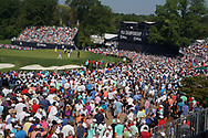 Fans watch Tiger Woods (USA) and Justin Thomas (USA) and Rory McIlroy (NIR) putt on the 18th hole during the second round of the 100th PGA Championship at Bellerive Country Club, St. Louis, Missouri, USA. 8/11/2018.<br /> Picture: Golffile.ie   Brian Spurlock<br /> <br /> All photo usage must carry mandatory copyright credit (© Golffile   Brian Spurlock)
