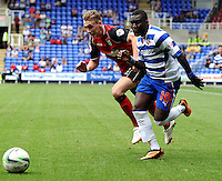 Ipswich Town's Elliott Hewitt (L) battles with Reading's Royston Drenthe<br /> <br /> FT: Reading 2 - 1 Ipswich Town<br /> <br />  - (Photo by David Horton/CameraSport) - <br /> <br /> Football - The Football League Sky Bet Championship - Reading v Ipswich Town - Saturday 3rd 2013 - Madejski Stadium - Reading<br /> <br /> © CameraSport - 43 Linden Ave. Countesthorpe. Leicester. England. LE8 5PG - Tel: +44 (0) 116 277 4147 - admin@camerasport.com - www.camerasport.com
