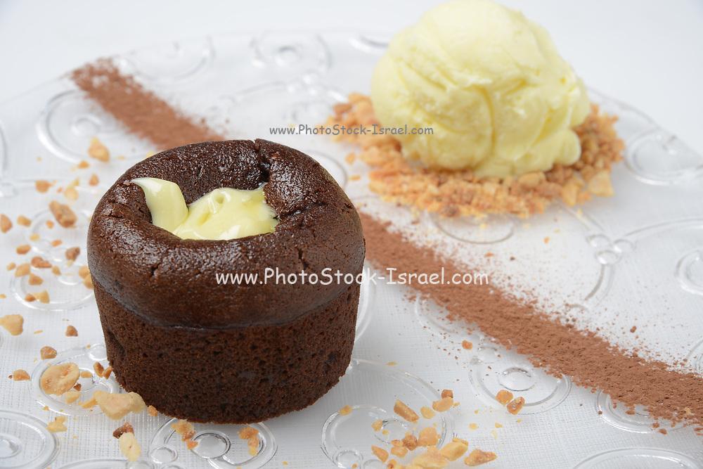 Volcano Chocolate cake with vanilla ice cream