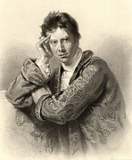 David Wilkie (1785-1841) Scottish painter. Engraving after portrait by Andrew Geddes. From 'A Biographical Dictionary of Eminent Scotsmen' by Thomas Thomson (1870).
