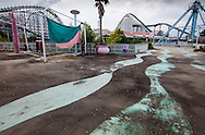 Six Flags New Orleans amusement park in Eastern New Orleans, Louisiana, closed since Hurricane Katrina  in 2005 remains in a sate of ruin. The Six Flags amusement park grounds are on low lying land owned by the city of New Orleans and have not be redeveloped since Katrina./// Abandoned rides at Six Flags in New Orleans.