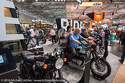 Triumph Motorcycles display at the Intermot Motorcycle Trade Fair. Cologne, Germany. Friday October 7, 2016. Photography ©2016 Michael Lichter.