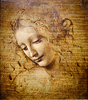 Italie, Parme, Galleria Nazionale, Leonard de Vinci, Tête de femme, dite La Scapiliata - L'Échevelée // Italy, Parma, Galleria Nazionale, Leonardo da Vinci, Woman's head, known as La Scapiliata