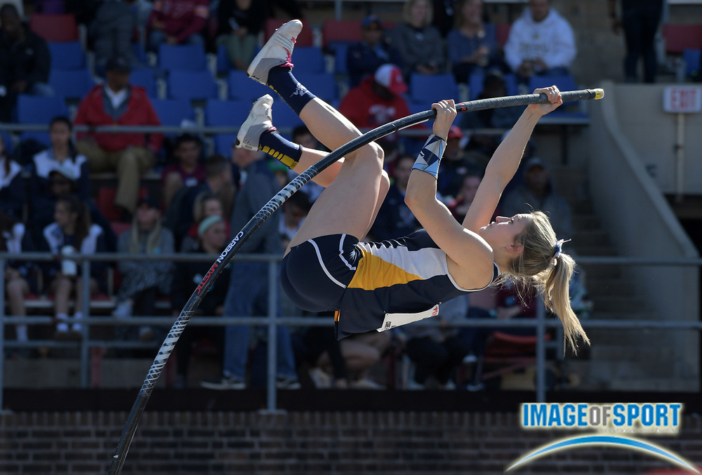 Apr 26, 2018; Philadelphia, PA, USA; Katherine Pitman of Ithaca wins the women's pole vault at 13-9 1/4 (4.20m) during the 124th Penn Relays at Franklin Field.