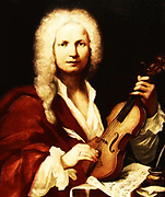 Portrait of Antonio Vivaldi, a Venetian violinist and composer of the eighteenth century. by François Morellon La Cave (1723), portrait  from the Bibliografico Museo Musicale, Bologna 1723
