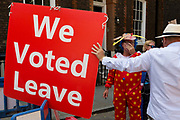 Protesters, both remainers and Brexiteers wait outside the address in Great College Street in Westminster, the property owned by Sky executive Andrew Griffith where Conservative Party Prime Minister candidate Boris Johnson meets with his aides in preparation of his selection tomorrow, on 22nd July 2019, in London, England.