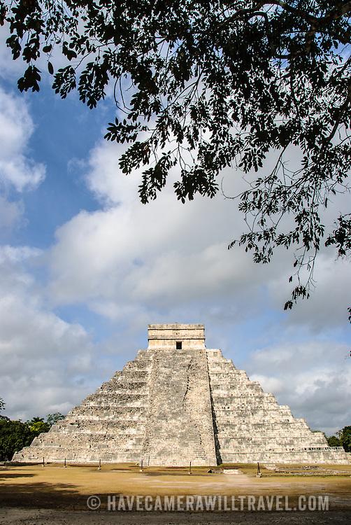 Temple of Kukulkan (El Castillo) at Chichen Itza Archeological Zone, ruins of a major Maya civilization city in the heart of Mexico's Yucatan Peninsula.