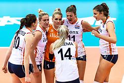 16-10-2018 JPN: World Championship Volleyball Women day 17, Nagoya<br /> Netherlands - China 1-3 / Lonneke Sloetjes #10 of Netherlands, Maret Balkestein-Grothues #6 of Netherlands, Kirsten Knip #1 of Netherlands, Anne Buijs #11 of Netherlands, Juliet Lohuis #7 of Netherlands