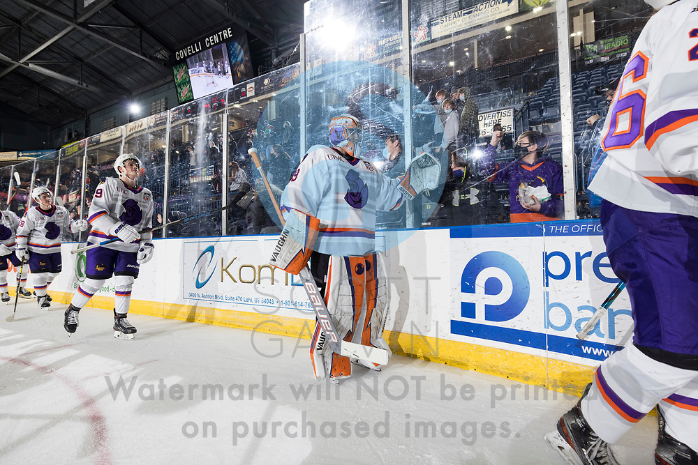 The Youngstown Phantoms defeat the Chicago Steel 5-2 at the Covelli Centre on January 23, 2021.<br /> <br /> Kyle Chauvette, goalie, 29; Carter Rose, defenseman, 9