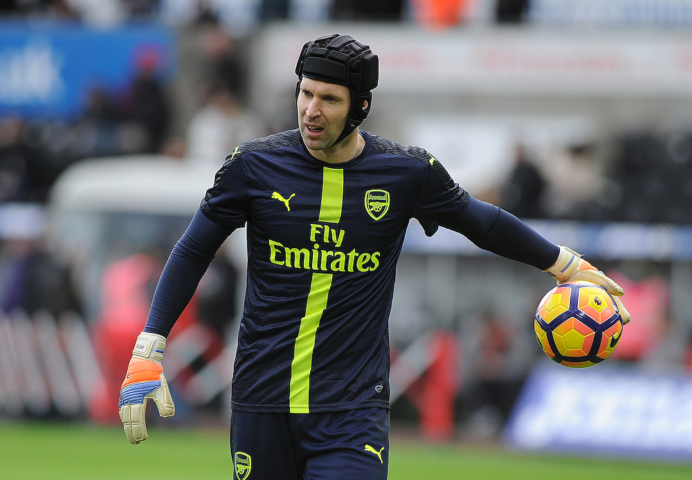 Arsenal's Petr Cech during the pre-match warm-up <br /> <br /> Photographer /Ashley Crowden CameraSport<br /> <br /> The Premier League - Swansea City v Arsenal  - Saturday 14th January 2017 - Liberty Stadium - Swansea <br /> <br /> World Copyright © 2017 CameraSport. All rights reserved. 43 Linden Ave. Countesthorpe. Leicester. England. LE8 5PG - Tel: +44 (0) 116 277 4147 - admin@camerasport.com - www.camerasport.com