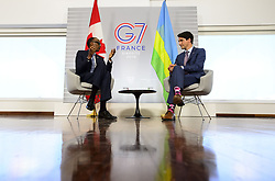 August 25, 2019, Biarritz, France: Prime Minister Justin Trudeau takes part in a bilateral meeting with Rwandan President Paul Kagame during the G7 Summit in Biarritz, France on Sunday, Aug 25, 2019. (Credit Image: © Sean Kilpatrick/The Canadian Press via ZUMA Press)