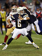 San Diego Chargers quarterback Mike Bercovici (6) throws a pass during the 2016 NFL preseason football game against the San Francisco 49ers on Thursday, Sept. 1, 2016 in San Diego. The 49ers won the game 31-21. (©Paul Anthony Spinelli)