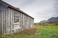 Derelict wooden house, built in the 1830s and once the home of local vekter or lensmann (police or head of police), Fredvang, Lofoten Islands, Arctic Norway