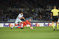 December 7, 2017 - San Sebastian, Guipuzcoa, Spain - Zurutuza of Real Sociedad duels for the ball with Domenico Criscito of Zenit during the UEFA Europa League Group L football match between Real Sociedad and Zenit at the Anoeta Stadium, on 7 December 2017 in San Sebastian, Spain  (Credit Image: © Jose Ignacio Unanue/NurPhoto via ZUMA Press)