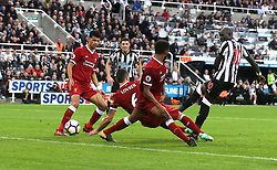 01 October 2017 Newcastle: Premier League Football: Newcastle United v Liverpool:  a late chance for Newcastle as a shot from substitute Mohamed Diame is deflected by Liverpool defender Dejan Lovren.<br /> Photo: Mark Leech