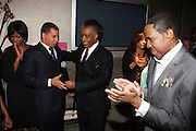 l to r: Governor David Patterson, Rev. Al Sharpton and Freddy Jackson at Rev. Al Sharpton's 55th Birthday Celebration and his Salute to Women on Distinction held at The Penthouse of the Soho Grand on October 6, 2009 in New York City