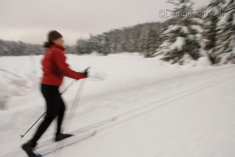 Cross country skier Shayla Libin skis the trails at Lost Lake park in Whistler, BC