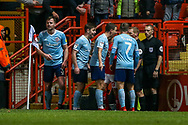 Accrington Stanley players object to the award of a penalty during the EFL Sky Bet League 1 match between Charlton Athletic and Accrington Stanley at The Valley, London, England on 19 January 2019.