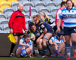 Charlotte Wright Haley, on debut for Worcester Warriors Women,  congratulates Sioned Harries, captain of Worcester Warriors Women, on her try - Mandatory by-line: Nick Browning/JMP - 09/01/2021 - RUGBY - Sixways Stadium - Worcester, England - Worcester Warriors Women v DMP Durham Sharks - Allianz Premier 15s