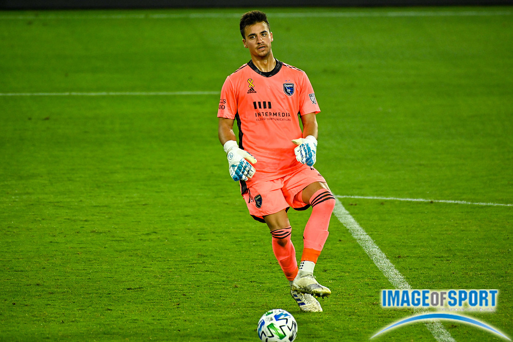 San Jose Earthquakes goalkeeper JT Marcinkowski (18) kicks the ball during a MLS soccer game, Sunday, Sept. 27, 2020, in Los Angeles. The San Jose Earthquakes defeated LAFC 2-1.(Dylan Stewart/Image of Sport)
