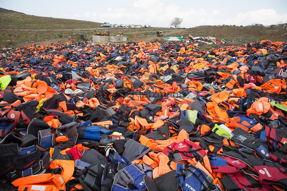 Mithymna, Lesvos, Greece - 27.02.2016 <br /> <br /> Dump for refugee boats, lifejackets and jetsam in the hills near the small town of Mithymna Lesvos.<br /> <br /> Muellkippe für Fluechtlingsboote, Schwimmwesten und Strandgut in den Huegeln nahe der Kleinstadt Mithymna auf Lesbos.<br /> <br /> Foto: Bjoern Kietzmann