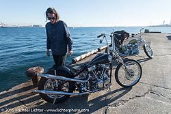 Mark Drews with his 1954 HD Panhead before the Mooneyes Yokohama Hot Rod & Custom Show. Yokohama, Japan. December 5, 2015.  Photography ©2015 Michael Lichter.