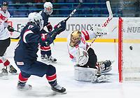 SPISSKA NOVA VES, SLOVAKIA - APRIL 20: USA vs Switzerland quarterfinal round 2017 IIHF Ice Hockey U18 World Championship. (Photo by Steve Kingsman/HHOF-IIHF Images)