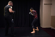 LAS VEGAS, NV - JULY 8:  Joanna Jedrzejczyk warms up in the locker room before The Ultimate Fighter Finale at MGM Grand Garden Arena on July 8, 2016 in Las Vegas, Nevada. (Photo by Cooper Neill/Zuffa LLC/Zuffa LLC via Getty Images) *** Local Caption *** Joanna Jedrzejczyk