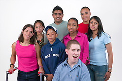 Group of teenaged friends in the studio together,