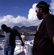 The ferry to Antigua from Port Little Bay on the northwestern tip of Montserrat. The port now serves as the main entry point to the island after the capital Plymouth was abandoned after the 1995 eruption of the Soufriere Hills volcano..Photo©Steve Forrest/Workers Photos