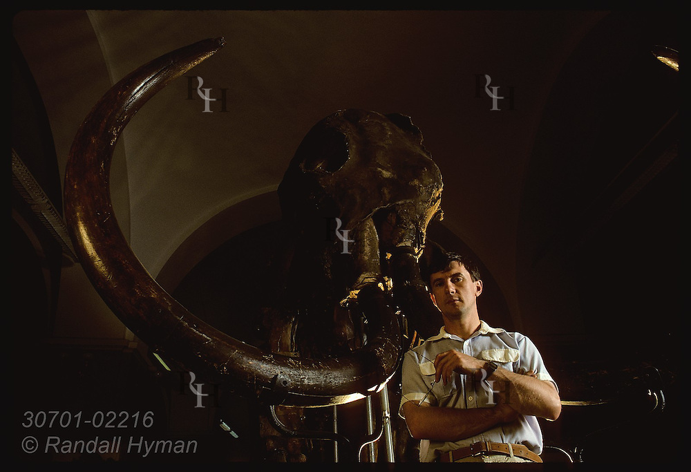 Zoologist Alexei Tikhonov stands beneath 1-ton mammoth skeleton from Siberia; Zoolgy Msm/St Pete Russia