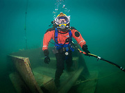 Kirby Morgan Superlite 17 helmet commercial diver at Dutch Springs, Scuba Diving Resort in Bethlehem, Pennsylvania
