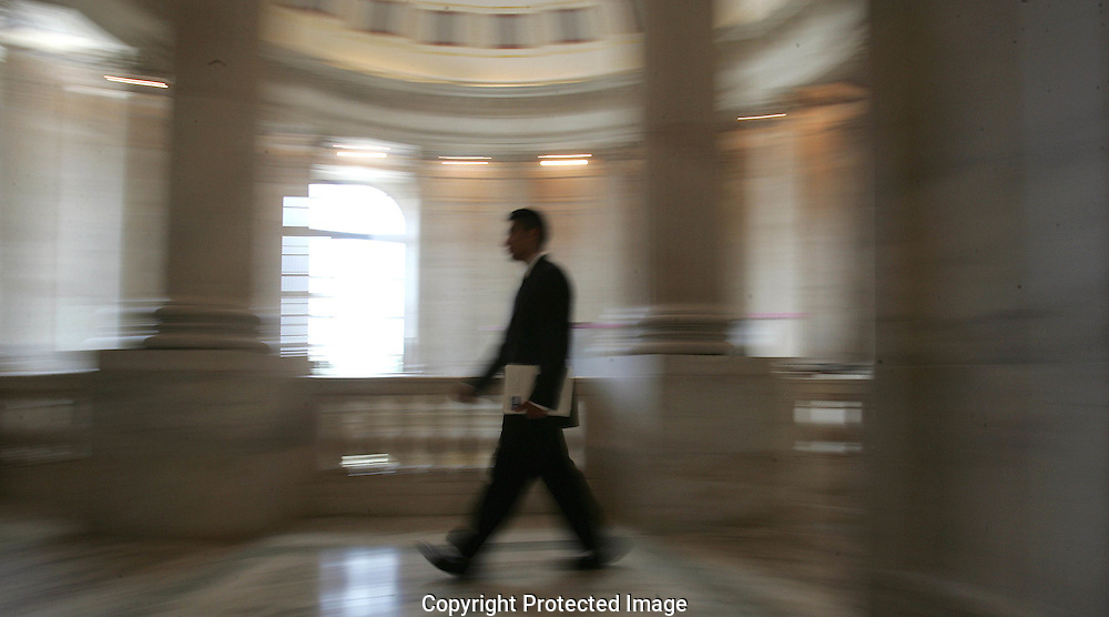 A legislative assistant at work on Capitol Hill  Photo by Dennis Brack
