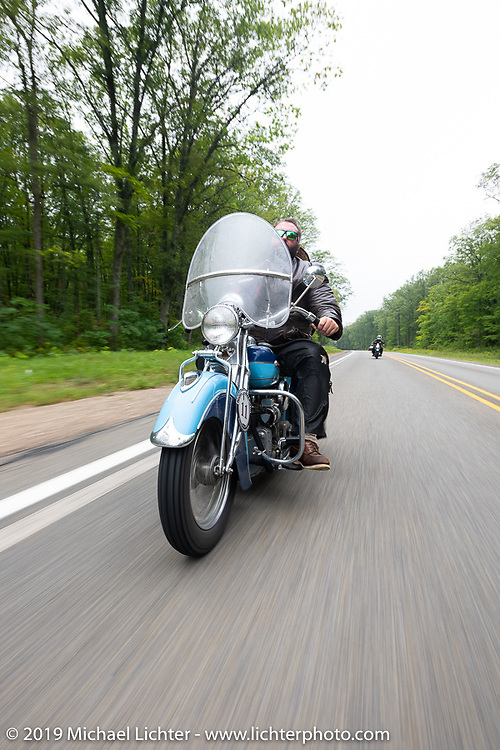 Evan Riggle riding his 1942 Indian 4-cylinder in the Cross Country Chase motorcycle endurance run from Sault Sainte Marie, MI to Key West, FL. (for vintage bikes from 1930-1948). Stage 1 from Sault Sainte Marie to Ludington, MI USA. Friday, September 6, 2019. Photography ©2019 Michael Lichter.