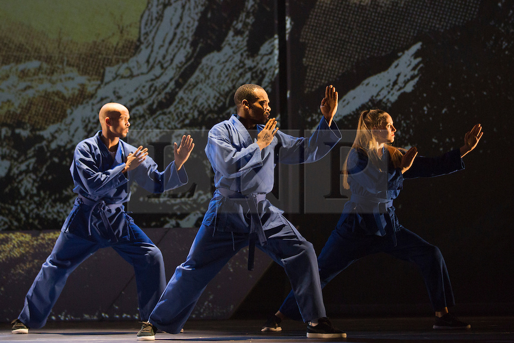 """© Licensed to London News Pictures. 18/10/2013. London, England. Barbican Artistic Associate """"Boy Blue Entertainment"""" present the premiere of """"The Five & the Prophecy of Prana"""". Choreographer Kenrick """"H2O"""" Sandy and composer Michael """"Mikey J"""" Asante are joined by award-winning Japanese Manga artist Akio Tanaka for a new narrative dance piece combining hip-hop, Manga and martial arts. Photo credit: Bettina Strenske/LNP"""